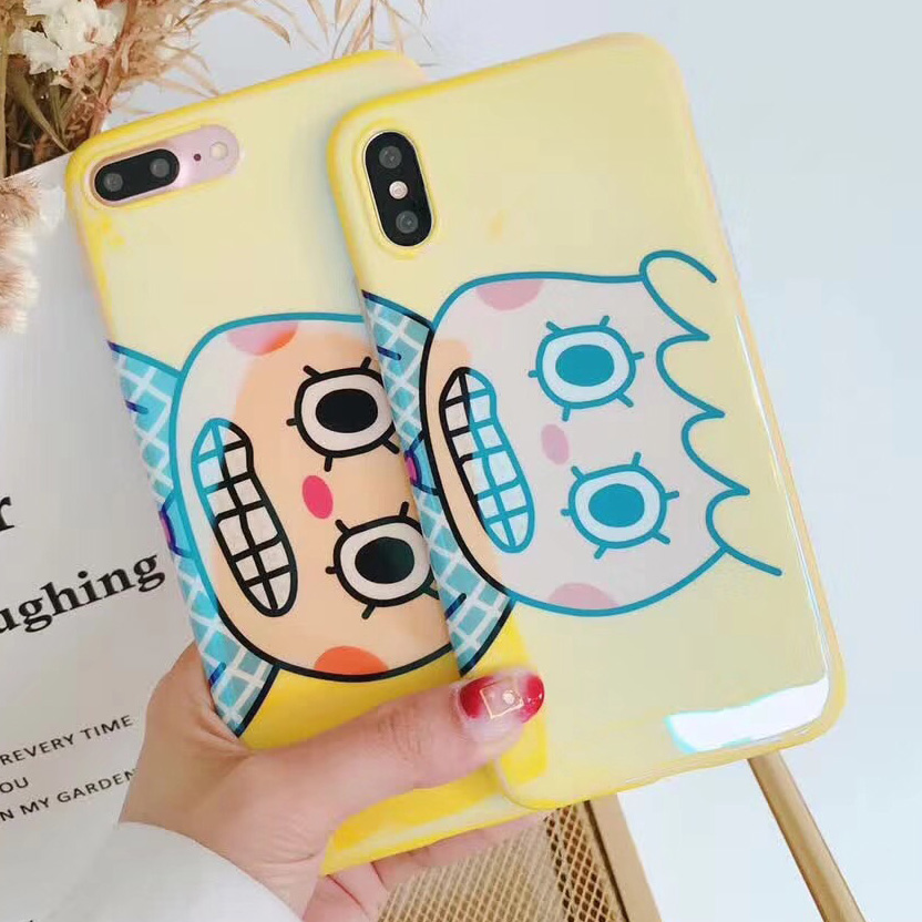 Blu-ray Lovely Crazy People Head Case For iPhone X 7 6 6S 8 Plus Soft Cartoon Cute Novelty Patterned IMD Phone Cases Cover Coque