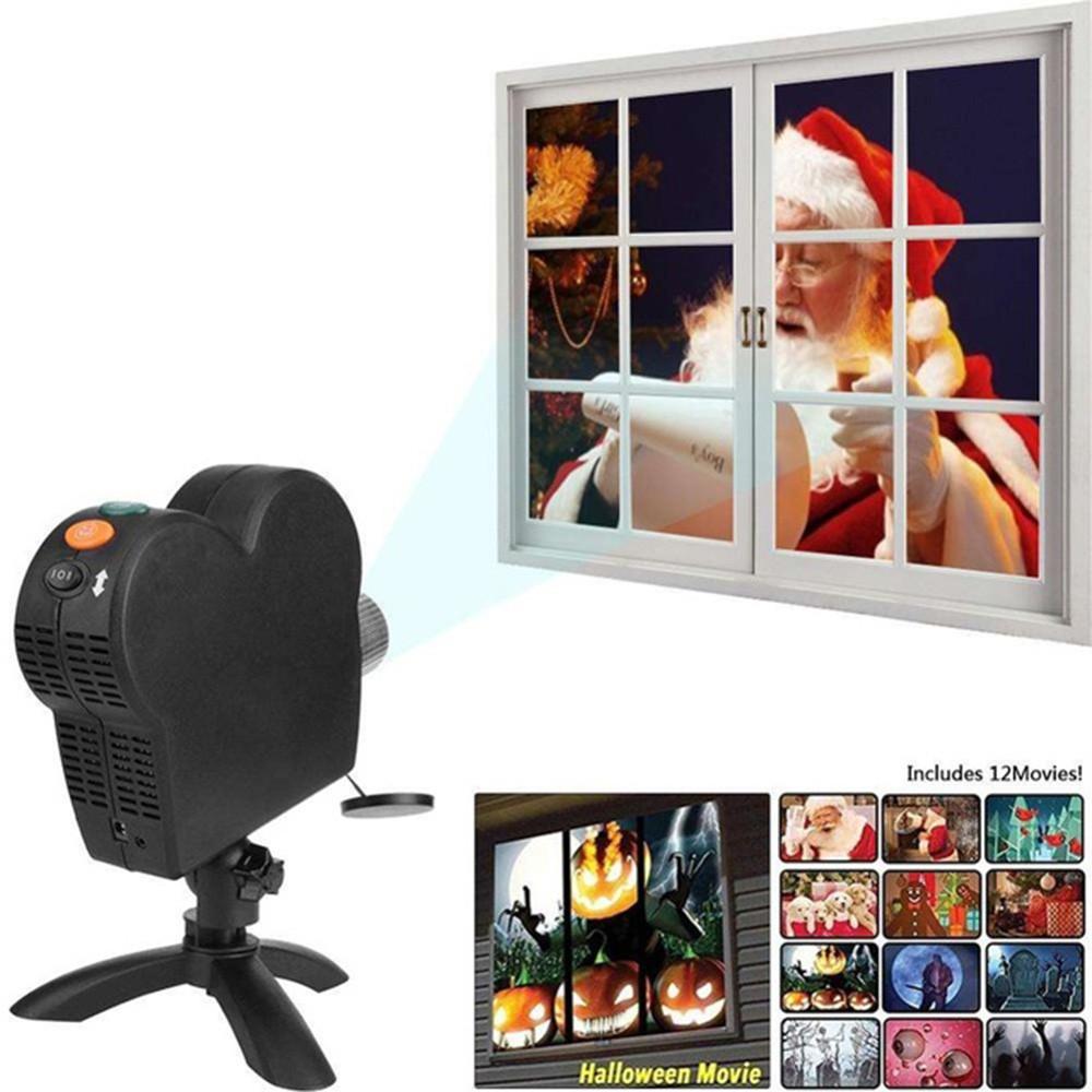 Projektor Fenster Weihnachten Halloween WINDOW WONDERLAND 12 Dekorationen Saison