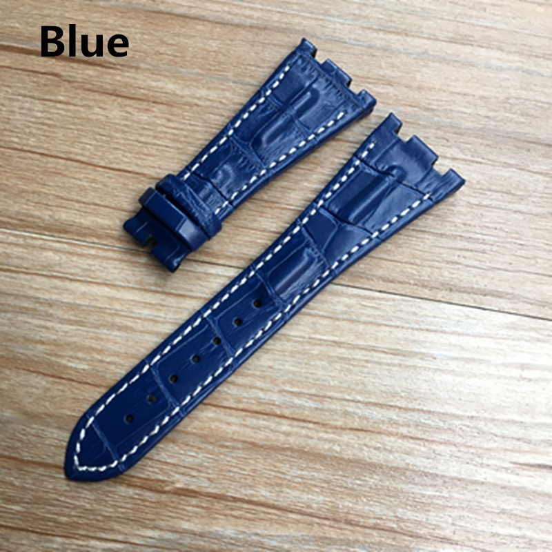 Image 4 - For AP strap 28mm Black Blue Gray Green Brown With Stitches Genuine Leather Watch Band Bracelet with steel deployment buckle-in Watchbands from Watches