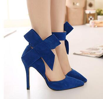 Plus Size Shoes Women Big Bow Tie Pumps Butterfly Sexy Pointed Stiletto Shoes Woman High Heels Wedding Party Shoes Red BAOK-ad8d