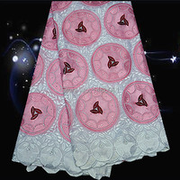 5yards Lot PC4 3 White Pink Wine Nice Looking Embroidered Lace Fabric High Quality 100