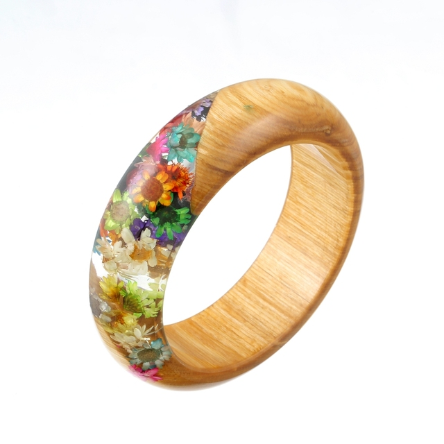 Colorful Resin Bracelets Bangles Wood Rainbow Daisy Handmade Women Bangle Transpa Charming Natural Jewelry