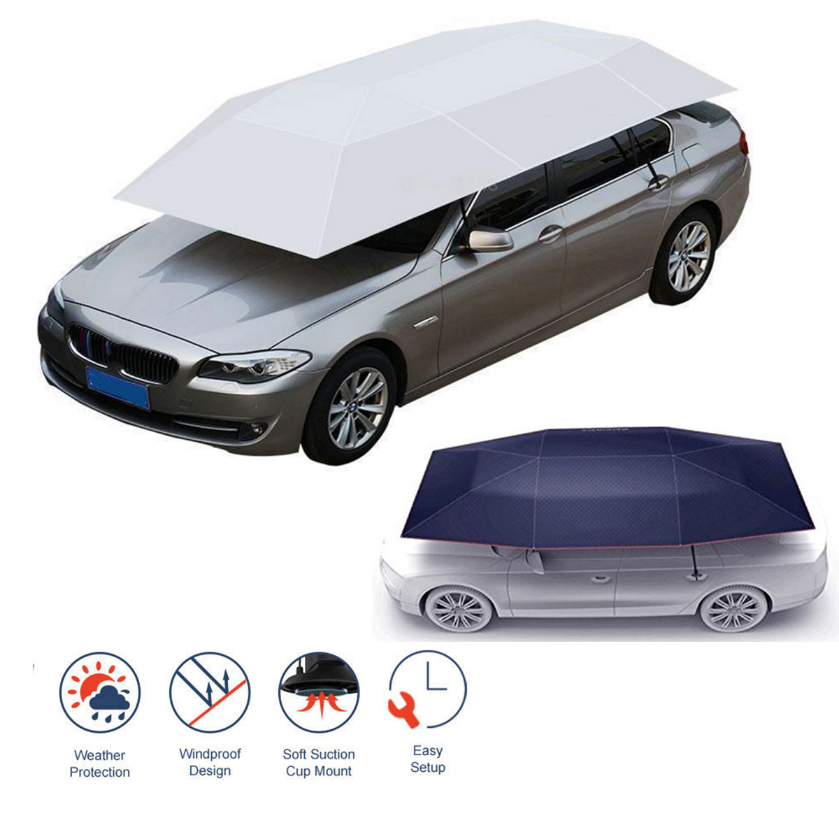 Semi-automatico Outdoor Copertura del Tetto Auto Tenda Ombrello Parasole Anti-Uv Kit Per Auto Ombrello Tenda Da Sole Auto Ombrello