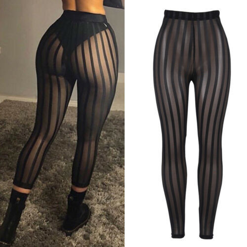 Sexy Women Striped Mesh Perspective Pants High Waist Knee Length Slim Trousers Club Wear Leggings Black