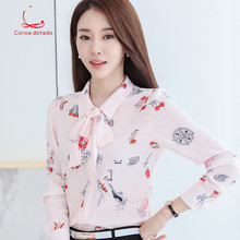 Printed blouse long sleeves spring and autumn 2019 new Korean version of floral small shirt chiffon size slim