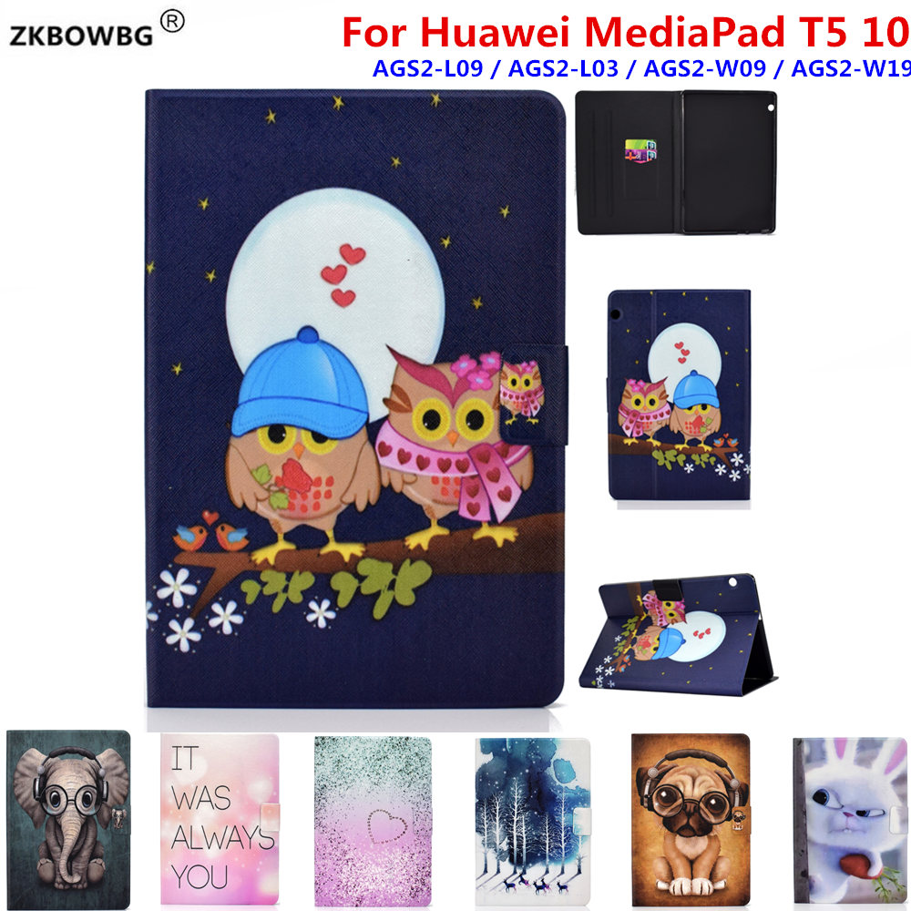 Fashion Print PU Leather Protective Pouch <font><b>Case</b></font> For <font><b>Huawei</b></font> MediaPad T5 10 <font><b>10.1</b></font>'' AGS2-L09 AGS2-L03/W09 <font><b>Tablet</b></font> Sleeve Bags Cover image