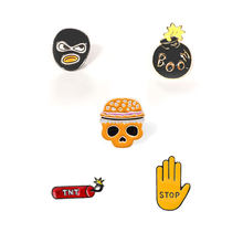 Punk Hip Hop Men Brooch Woman Jewelry Enamel Pin Cartoon Lapel Pin Stop Gesture Boom Firecracker Skull Badge Shirt Bag Hijab Pin(China)
