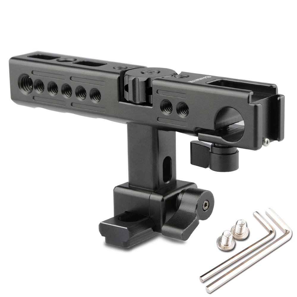 CAMVATE Camera Top Handle Grip Hot Cold Shoe 15mm Rod Hole For Camera DSLR Cage Stabilizer Steady Photography C1429