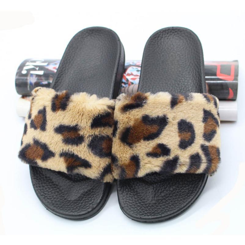 SAGACE Shoes Flip flops summer Ladies Sliders Leopard Fluffy Faux Fur Flat Slipper Flip Flop Sandal casual shoes women 2018JU4 цена 2017