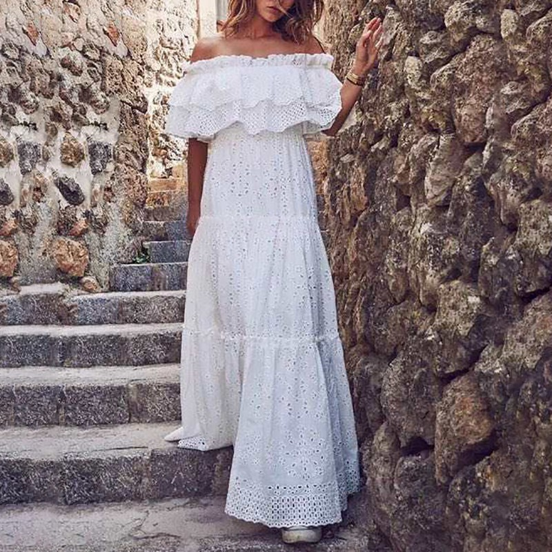 CHICEVER Summer Elegant White Dress For Women Slash Neck Patchwork Ruffles Short Sleeve High Waist Hollow Out Floor Dresses 2020 1