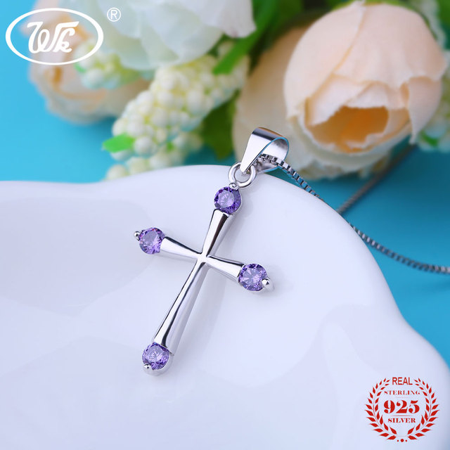 WK 925 Sterling Silver Cross Collana Per Le Donne Ragazze Cubic Zirconia di Cristallo Cristiana Religiosa Del Pendente Collana Femminile S NZ019