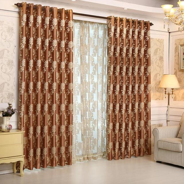 2015 Luxury Europe Jacquard Thick Blackout Curtains For Living Room The  Bedroom Window Treatments Shades Panels