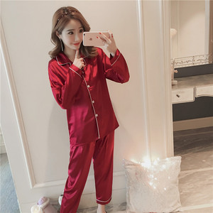 Image 2 - Caiyier 2018 Witer soie Pyjamas ensembles à manches longues Pyjamas de nuit pour les femmes soie Homewear Sexy chemise de nuit pyjama femme 5xl taille