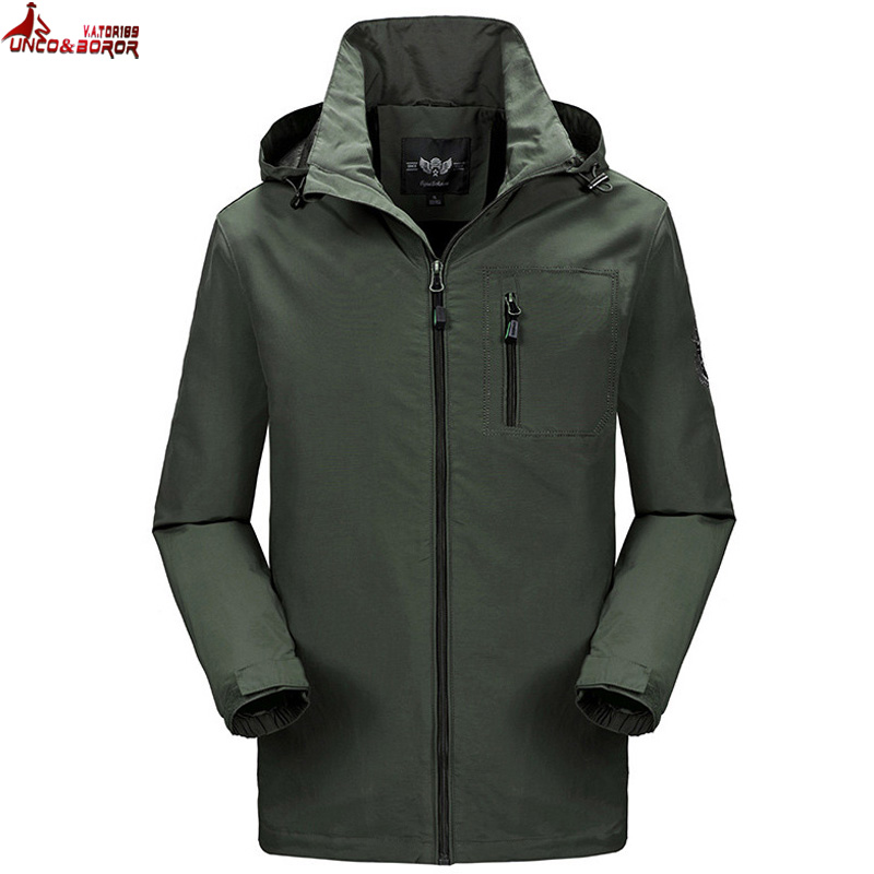 UNCO&BOROR Spring Jacket Brand male Hooded Windbreaker Coat Men Softshell Casual waterproof chaqueta hombre Jacket size M~4XL