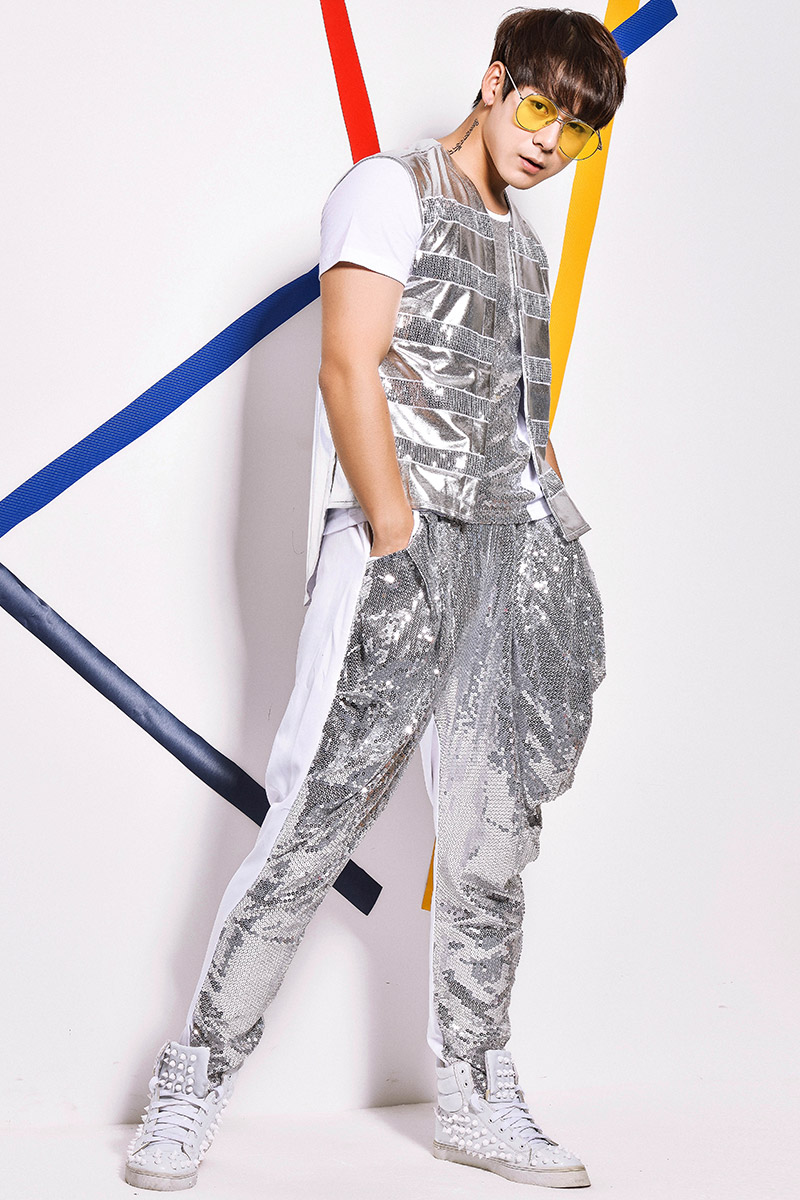 (Gilet + t shirt + + pantalon) argent sequin 3 pièces ensembles mâle chanteur discothèque bar jazz rock costumes costume plomb danse spectacle Haren pantalon - 6