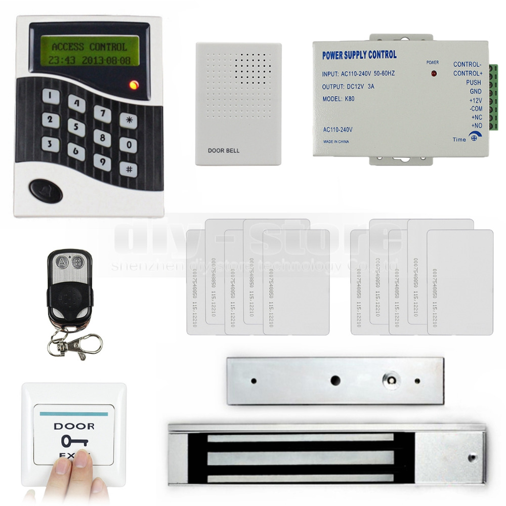 DIYSECUR Remote Control RFID 125KHz Keypad Door Access Control System Kit + Electric Magnetic Lock + Door Bell diysecur magnetic lock door lock 125khz rfid password keypad access control system security kit for home office