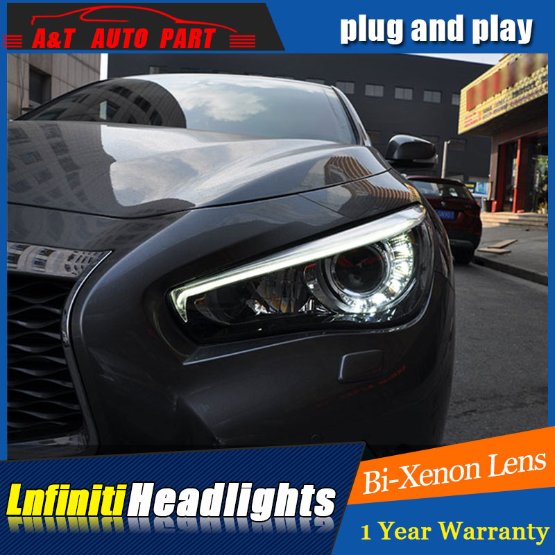 Auto part Style LED Head Lamp for Infiniti Q50 led headlights 2014-2018 for Q50L drl H7 hid Bi-Xenon Lens angel eye low beam auto part style led head lamp for bmw 5 series led headlights for 520li 525li drl h7 hid bi xenon lens angel eye low beam
