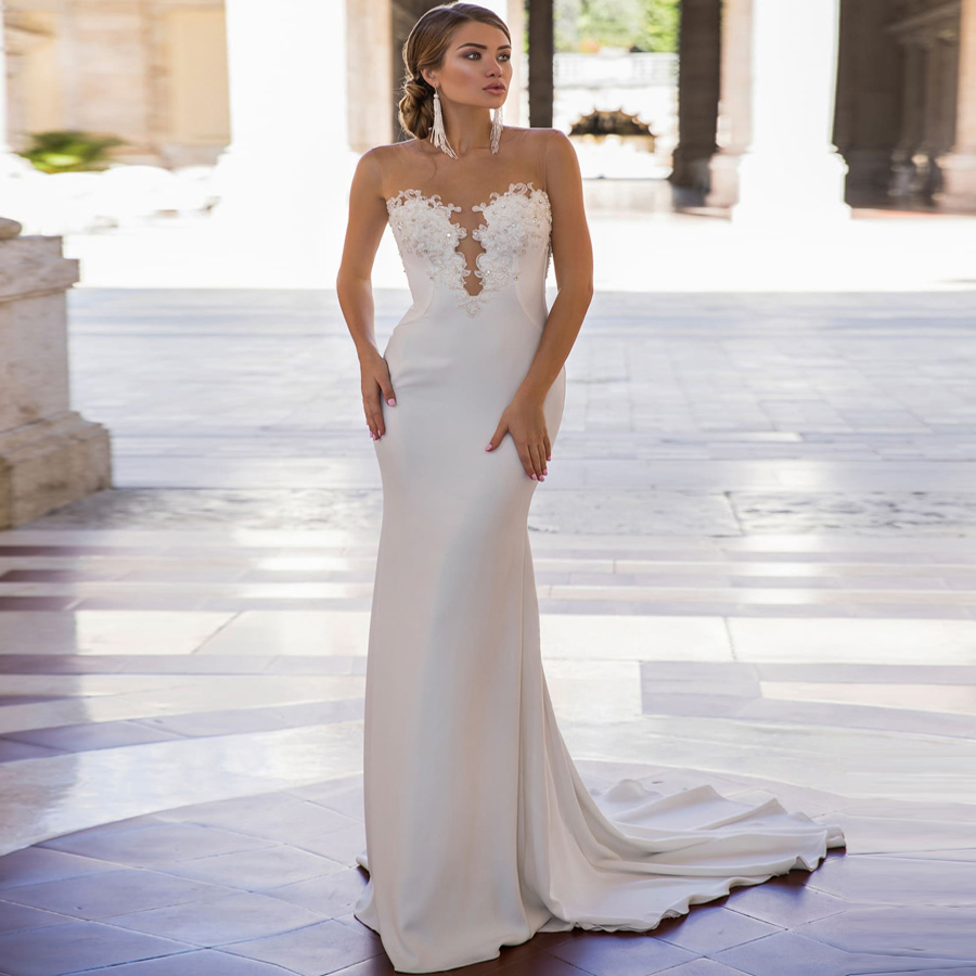 Weilinsha 2019 Cheap Mermaid Wedding Dresses Scoop Beading