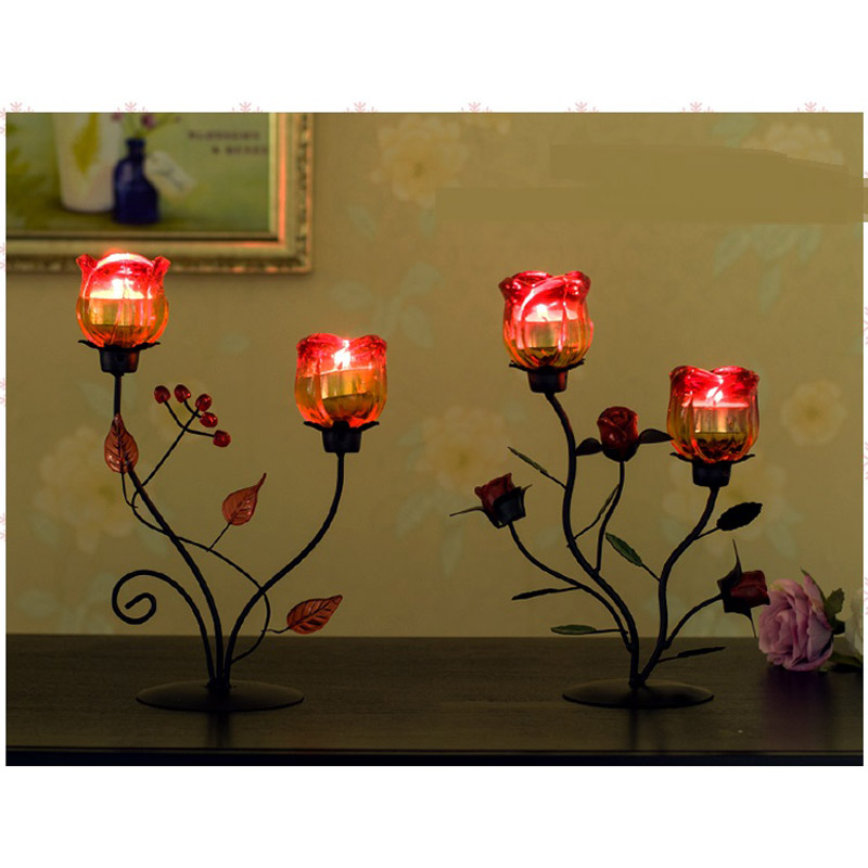 Romantic candlelight night light dinner iron candlestick rose candle holder creative glass soft decoration lamps ZA114453 projector night light romantic rose buds