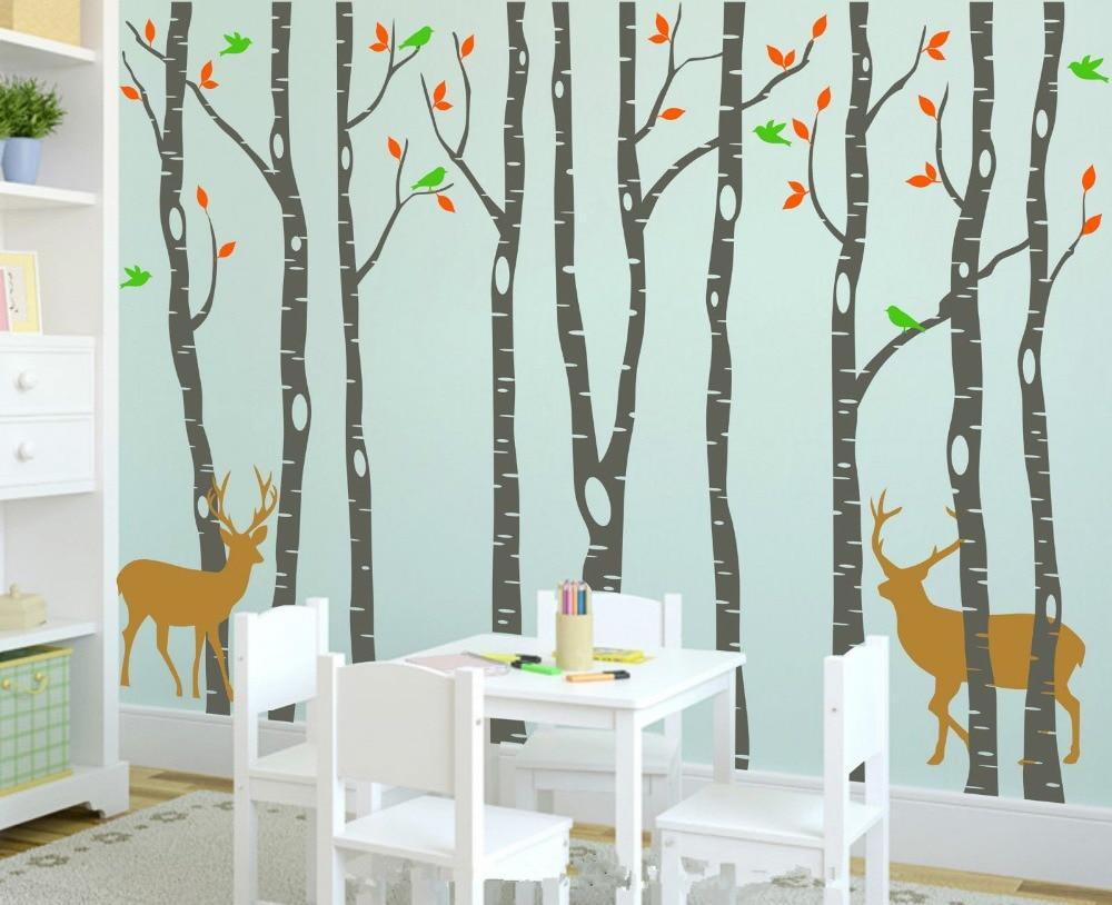 Vinyle arbre Stickers muraux 260x360 cm renne arbre forêt oiseaux stickers muraux décalcomanie Art pépinière décor Stickers muraux pour chambre d'enfants - 4