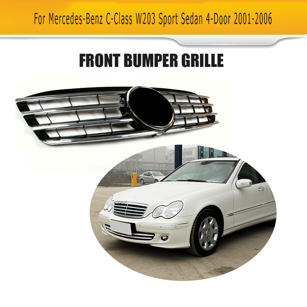 W203 ABS car front racing grill bumper mesh grille with authentic star emblem for BENZ W203 C230 C240 C280 01-07 pp class front car mesh grill sport style fit for benz w203 c 2000 2006
