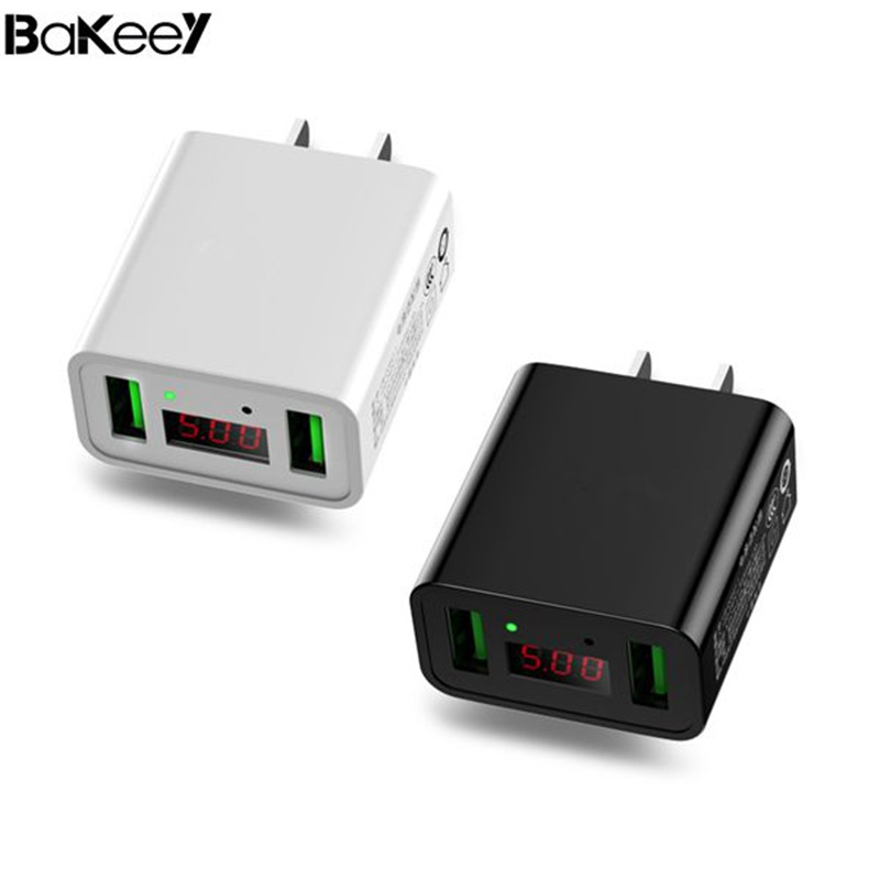 High Quality Bakeey 2.2A Dual Ports LED Display US Plug Fast Charger For iPhone X 8Plus Oneplus 5t Xiaomi 6 Mi A1