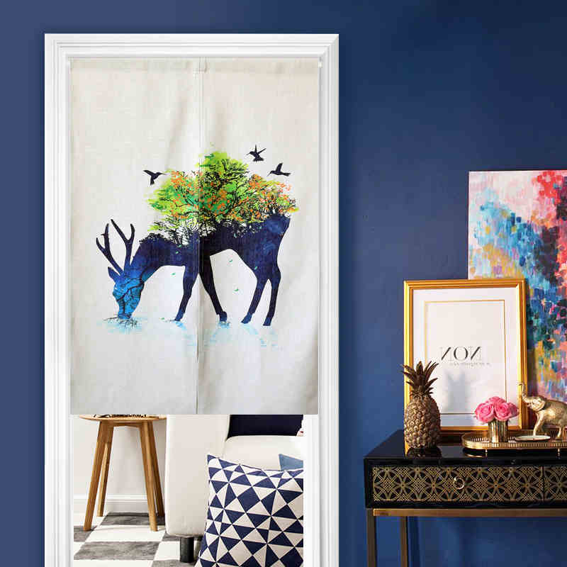 2 Sizes Animal Linen Curtain Cloth With Telescopic Rod