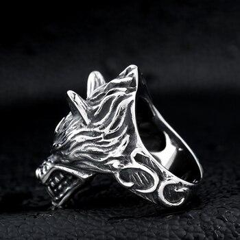 Beier 316L acier inoxydable nez viking loup tête animal pour homme Unique prix de gros bijoux LR160 11