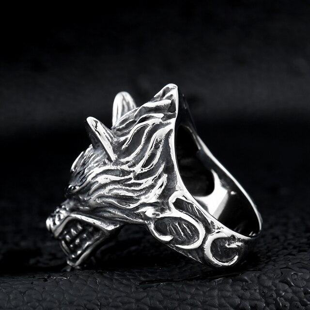 Beier 316L acier inoxydable nez viking loup tête animal pour homme Unique prix de gros bijoux LR160 6