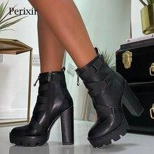 Perixirสีดำรองเท้าผู้หญิง 2020 ฤดูใบไม้ผลิแฟชั่นส้นฤดูใบไม้ร่วงฤดูใบไม้ร่วงLace Up Softหนังรองเท้าผู้หญิงข้อเท้ารองเท้ารองเท้าส้นสูง