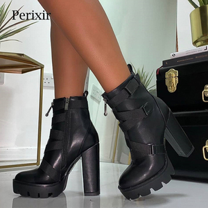 Image 1 - Perixir Black Boots Women 2020 Spring Fashion Heel Autumn Lace up Soft Leather Platform Shoes Woman Party Ankle Boots High Heels