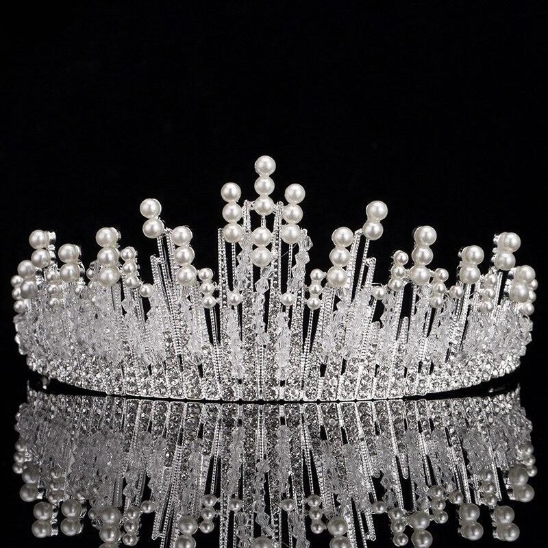 New Vintage Silver Bridal Pearl Tiara For Wedding Crown Handmade Crystal Rhinestone Beaded Head jewelry Bride Hair Accessories