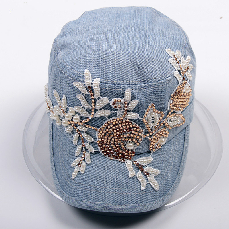 2017 Fashion New Denim Baseball Hat Female Autumn Duck Cap Lace Water Diamond Flower Woman Flat Top Hat g1deon towards god