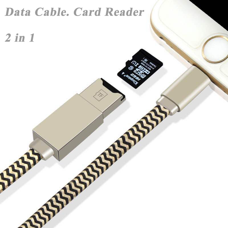 SunDigit USB Date Cable TF Micro SD Card Reader Up to 128GB U Disk For iPad iPhone Multi-function Lightning Data Charging Cable