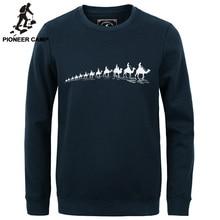 Pioneer camp nova moda outono inverno homens hoodies casual algodão engrosse velo masculino pullover treino dos homens crewneck camisola(China (Mainland))