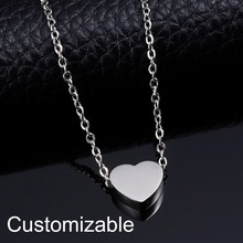 цена на Stainless Steel Custom Lettering Necklace Heart Shape Pendant Engraving Personalized Women Elegant Silver Gold Chain Jewelry