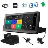 4 г 8 дюймов ips Android 5,1 Wi Fi FHD 1080 P двойной объектив регистратор парковка мониторинга Bluetooth ADAS автомобиля GPS DVR камера навигации