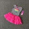 Бесплатная Доставка 6 Шт./лот НОВЫЙ 4-12 Т супер девушка полосатый розовый цвет летом жилет хлопка платье супер красиво высокое качество