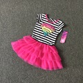 Free Shipping 6 Pieces/lot NEW 4-12T super girl striped pink color summer vest cotton dress super nice high quality
