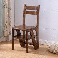 Бытовой обеденный стул со спинкой мульти функция складной устойчивый деревянный стул двойного назначения деревянная лестница кухня шаг ст