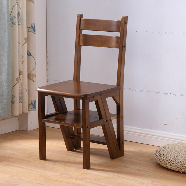 Household Dining Chair With Backrest Multi Function Foldable Solid Wood  Stool Dual Purpose Wooden Ladder