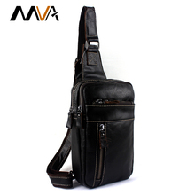 MVA Genuine Leather Men Bags Men's Crossbody Bag Men Messenger Bags Zipper Leather Phone Chest Pack Waist Small Belt Bag Man