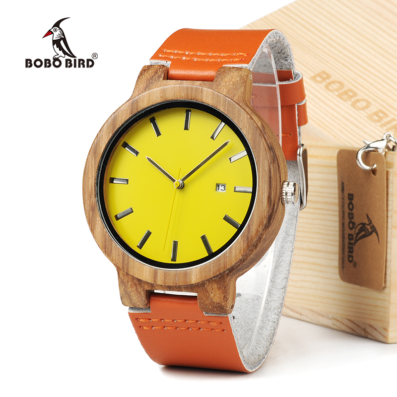 BOBO BIRD Mens Wood Watch Orange Dial Quartz Wristwatch with Date Display in Wooden Gift Box
