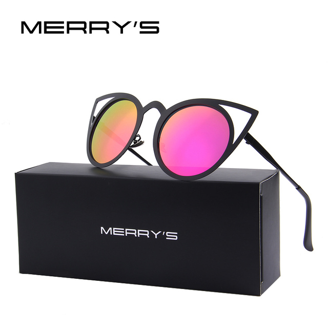 MERRY'S Women Cat Eye Sunglasses Brand Designer Sunglasses Classic Shades Round Frame S'8064