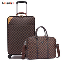 Rolling Luggage set,High quality PU leather Travel Suitcase bag with handbag,Wheels Carry On,Women Carrier,Men Trolley drag box