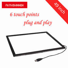 49 touch IR touch frame 6 touch points USB infrared touch screen without glass new amt 9535 touch screen touch board touch glass