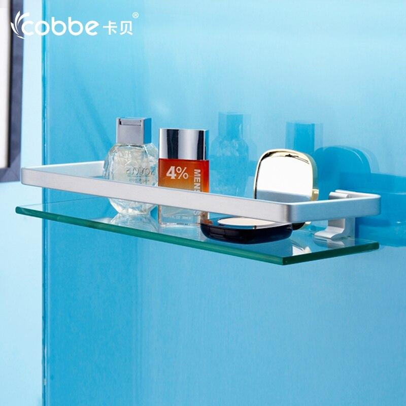 Space Aluminium Bathroom Shower Shelf Glass Storage Rack Bathroom  Accessories Decorative Wall Shelves For Shampoo Cobbe