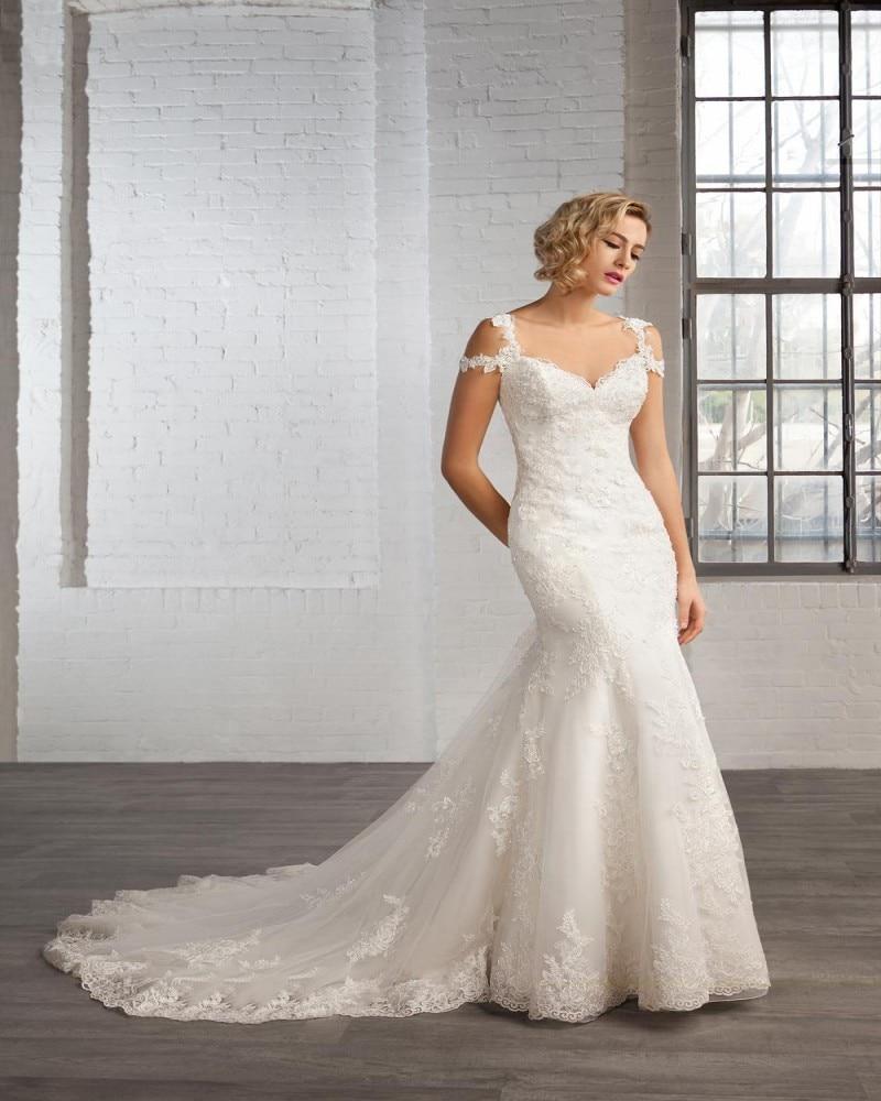 2016 Mermaid Lace Wedding Dress Beads Portrait Backless