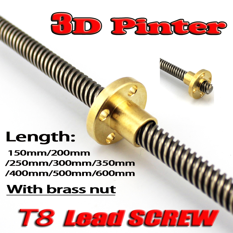 Best price ! T8 Lead Screw Rod OD 8mm Pitch 2mm Lead 2mm Length 200mm-500mm Threaded Rods with Brass Nut for Reprap 3D Printer 3d printer t8 500 stainless steel lead screw set with shaft coupling dia 8mm pitch 2mm lead 8mm length 500mm free shipping