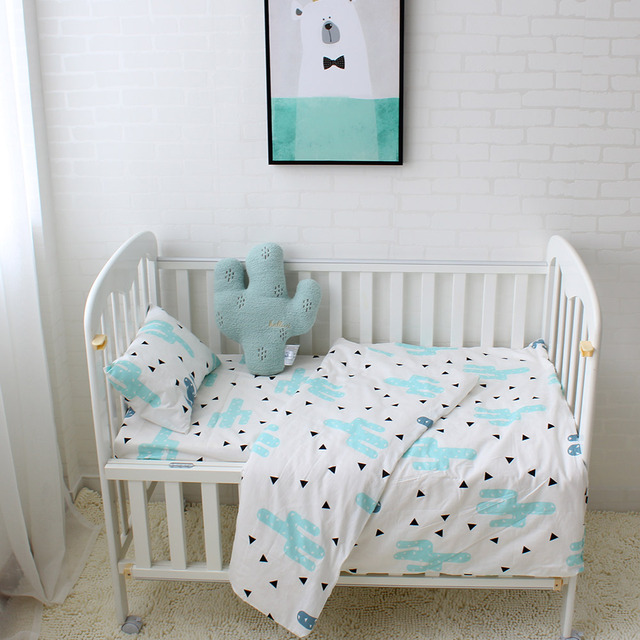 3Pcs Baby Bedding Set Pure Cotton Baby Crib Sets Cute Bear Pattern Baby Linen Include Duvet Cover Pillowcase Flat Sheet